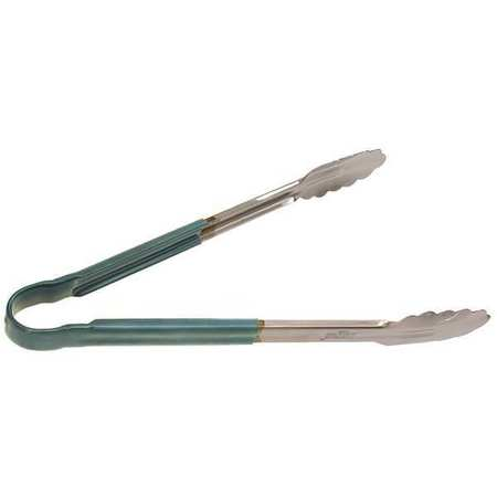 CRESTWARE 12 INCH STAINLESS STEEL GREEN TONGS