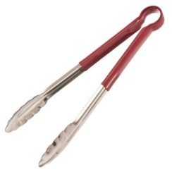 CRESTWARE 12 INCH STAINLESS STEEL RED TONGS