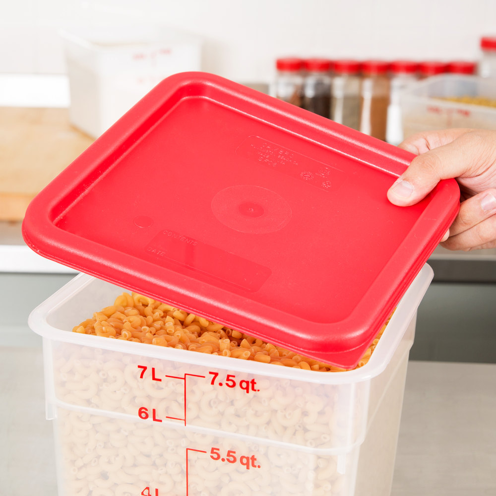 cambro 6qt 8qt red square food container lid