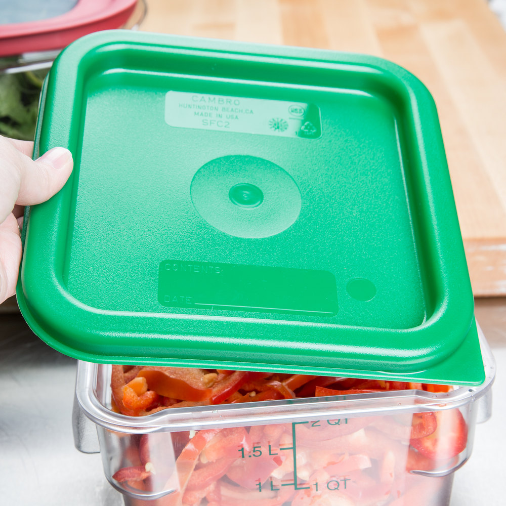 Cambro 2qt 4qt Green Square Food Container Lid Rush S