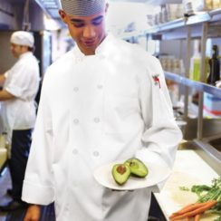 CHEF WORKS LE MANS MEDIUM WHITE CHEF COAT
