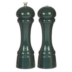 8 INCH FOREST GREEN PEPPER MILL AND SALT SHAKER SET