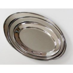 16 INCH OVAL STAINLESS STEEL TRAY