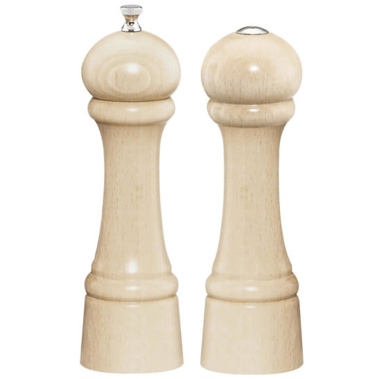 8 INCH WINDSOR NATURAL MAPLE PEPPER MILL AND SALT SHAKER SET
