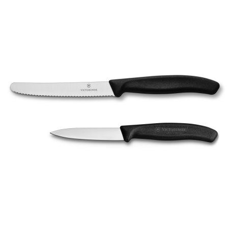 VICTORINOX BLACK PARING/SERRATED KNIFE SET