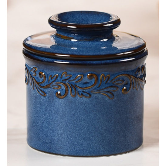 denim butter bell crock