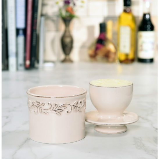 ivory rose butter bell crock